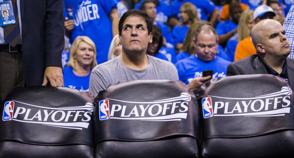 Dallas Mavericks owner Mark Cuban watches from behind the bench during the first quarter of game 5 of their series against the Oklahoma City Thunder in the first round of NBA playoffs on Monday, April 25, 2016 at Chesapeake Energy Arena in Oklahoma City, Oklahoma.  (Ashley Landis/The Dallas Morning News)