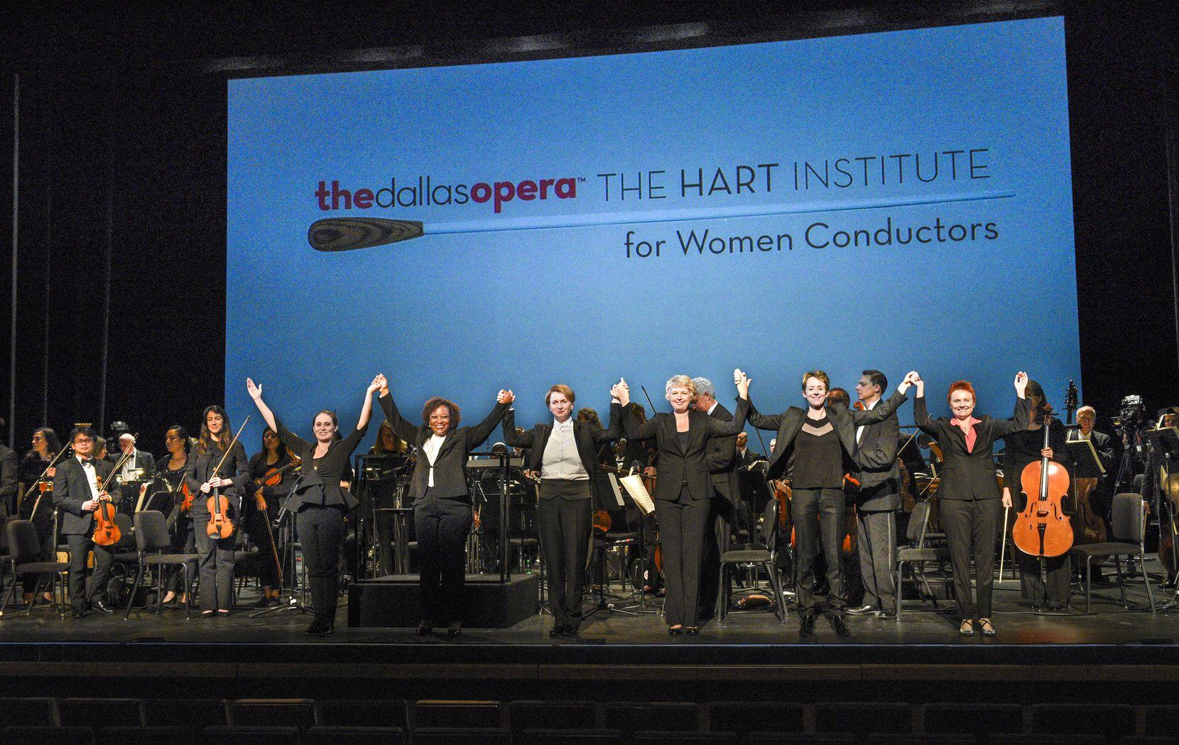 From left: Lina Gonzalez-Granados, Alba Bomfim, Monika Wolinska, Karin Hendrickson, Mélisse Brunet and Carolyn Watson took a bow during the Dallas Opera's Hart Institute for Women Conductors in 2017.