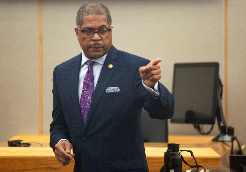 Prosecutor Kevin Brooks makes his closing remarks in the  murder trial for Brenda Delgado at the 363rd Judicial District Court at the Frank Crowley Courthouse in Dallas, Friday, June 7, 2019. Delgado was found guilty of capital murder, and was accused of hiring Crystal Cortes and Kristopher Love to kill Kendra Hatcher, an Uptown dentist. (Lynda M. Gonzalez/The Dallas Morning News)