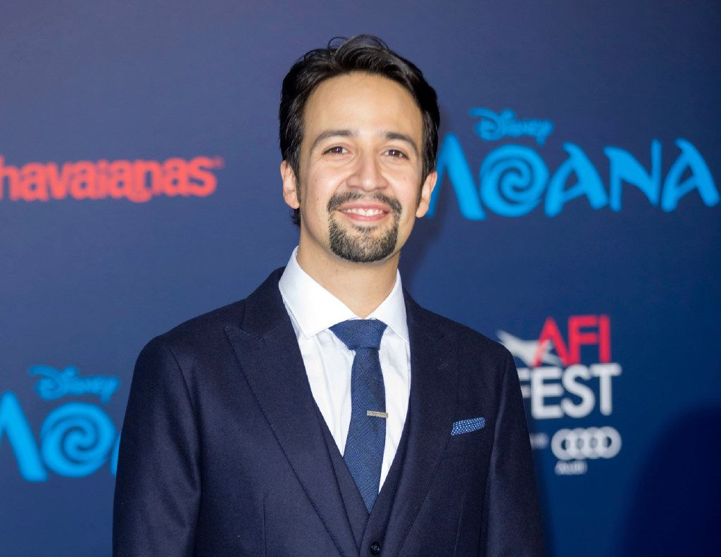 """FILE - In this Nov. 14, 2016 file photo, Lin-Manuel Miranda arrives at the """"Moana"""" world premiere in Los Angeles. Miranda wrote songs for the film."""