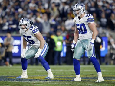 Dallas Cowboys outside linebacker Leighton Vander Esch (55) and outside linebacker Sean Lee (50) line up against the Los Angeles Rams during the second quarter of their NFC Divisional Playoff game at Los Angeles Memorial Coliseum in Los Angeles, Saturday, January 12, 2019.