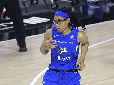 Dallas Wings guard Allisha Gray reacts after a play during the second half of a WNBA basketball game against the Atlanta Dream, Sunday, July 26, 2020, in Bradenton, Fla.