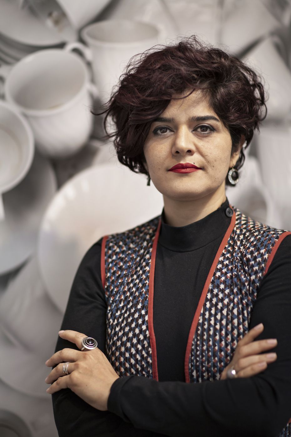 Nida Bangash, an Iranian-Pakistani artist who lives in Dallas, explores colonialism and the intersection of feminism and race in her new exhibition at Talley Dunn Gallery in Dallas.