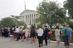 People lined up Friday for a seat inside the Supreme Court ahead of a major ruling on gay marriage.(AP Photo/Jacquelyn Martin)