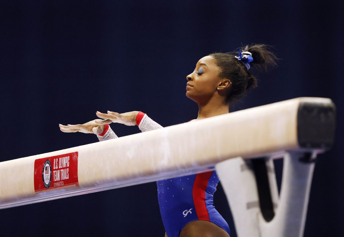 Simone Biles of World Champions competes in balance beam during day 1 of the women's 2021 U.S. Olympic Trials at America's Center on Friday, June 25, 2021 in St Louis, Missouri.(Vernon Bryant/The Dallas Morning News)