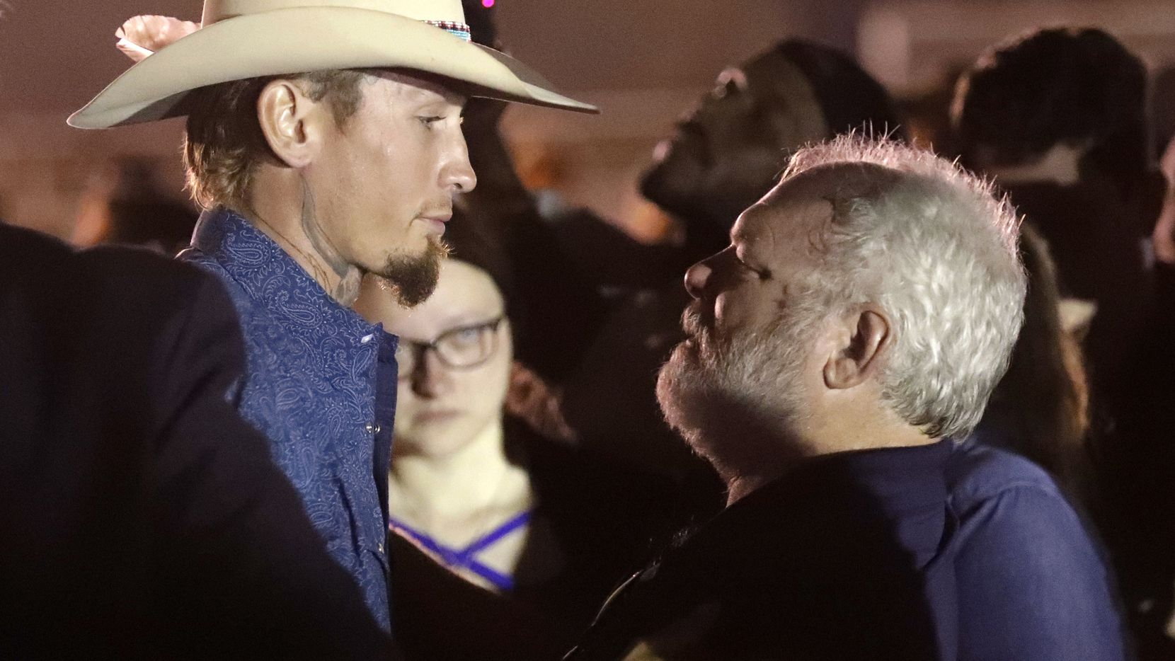Stephen Willeford (right) and Johnnie Langendorff during a Nov. 6 vigil for the victims of the Sutherland Springs First Baptist Church.