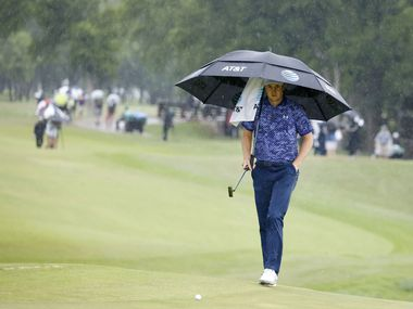 Jordan Spieth walks up to the green in the rain on the 9th hole during round 4 of the AT&T Byron Nelson  at TPC Craig Ranch on Saturday, May 16, 2021 in McKinney, Texas. (Vernon Bryant/The Dallas Morning News)