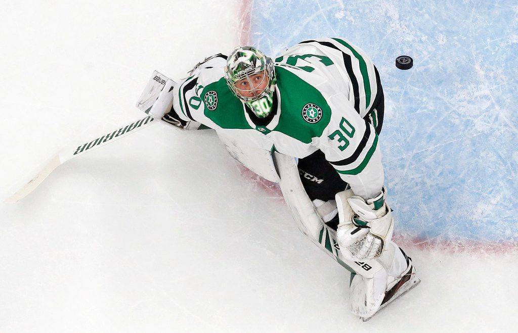 Dallas Stars goaltender Ben Bishop (30) eyes the puck which took flight above the crease and over the net during their game against the St. Louis Blues at the Enterprise Center in St. Louis, Tuesday, May 7, 2019. The Dallas Stars lost, 2-1. The teams were playing in the Western Conference Second Round Game 7 of the 2019 NHL Stanley Cup Playoffs. (Tom Fox/The Dallas Morning News)