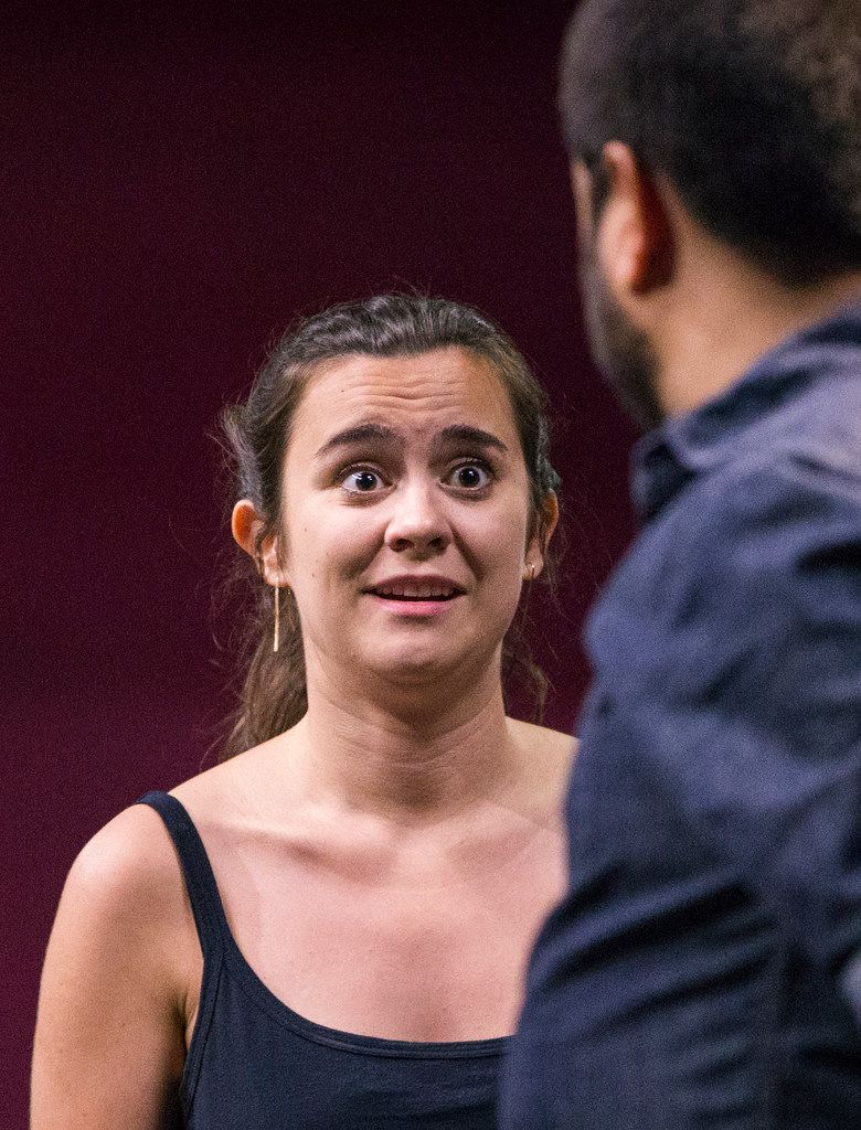 """""""W"""" (Dani Nelson) freaks out when """"M"""" (Ruben Carrazana) proposes having a child in Stage West Theatre's production of Lungs. She's always wanted to be a mother but worries about bringing another carbon-using person onto a warming planet."""