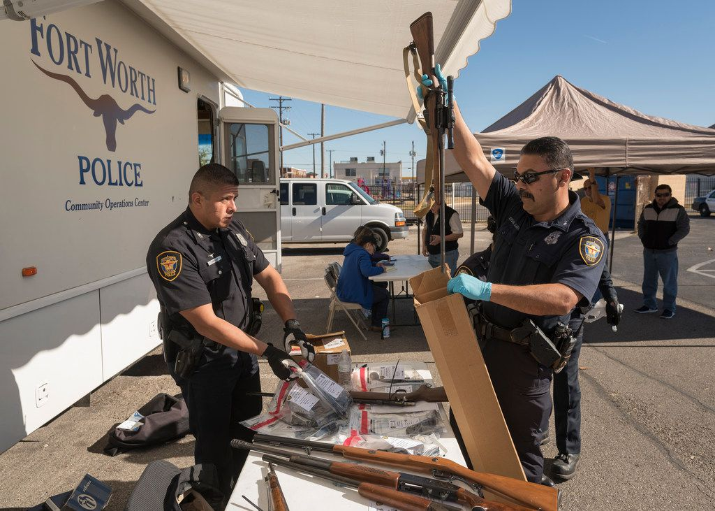 Fort Worth police collected weapons during a gun buyback program on Saturday.