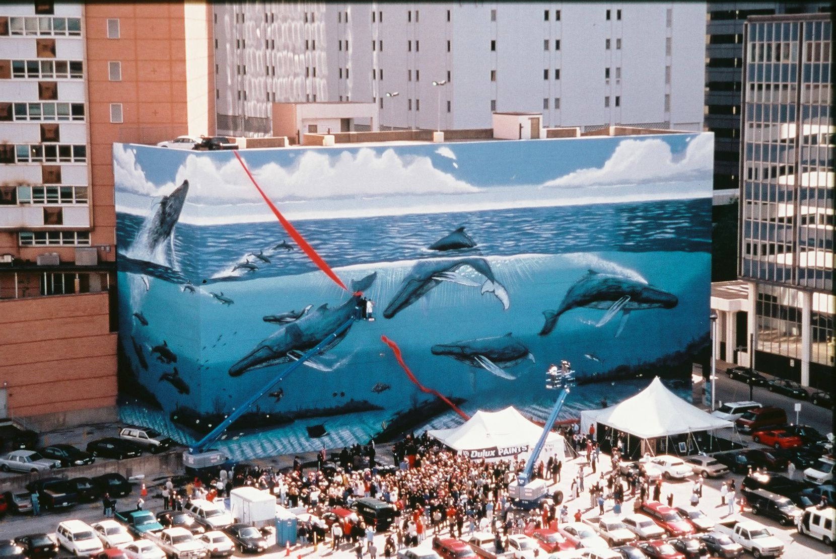 This photo was taken at the official dedication of Wyland's giant mural of humpback whales in downtown Dallas in 1999.