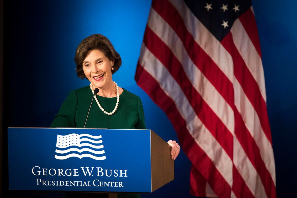 """Former first lady Laura Bush makes remarks before a session titled """"Going Native: Why Conservation Matters In Our Cities And In Our Own Backyards"""" during the Forum on Leadership."""