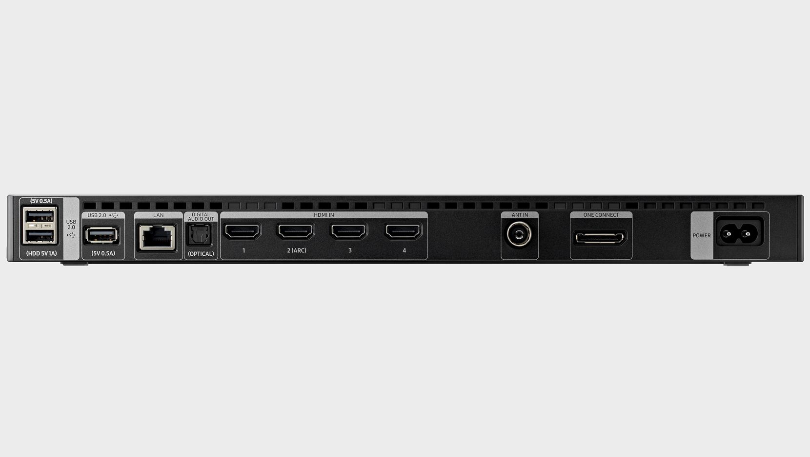 Samsung has moved the ports from the back of the TV to this One Connect box, which can be placed near your TV source boxes.