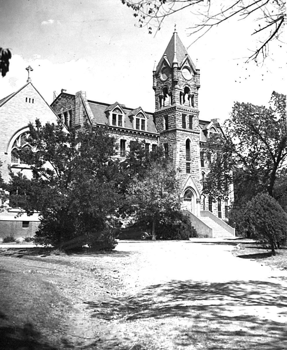 The Victorian Gothic St. Mary's College was built in 1884-86 on the block bounded by Ross, Henderson, Garrett and San Jacinto streets.  The towering stone college building, the work of Dallas architect A. B. Bristol, was demolished in 1948. The college cathedral, on the left, survives.