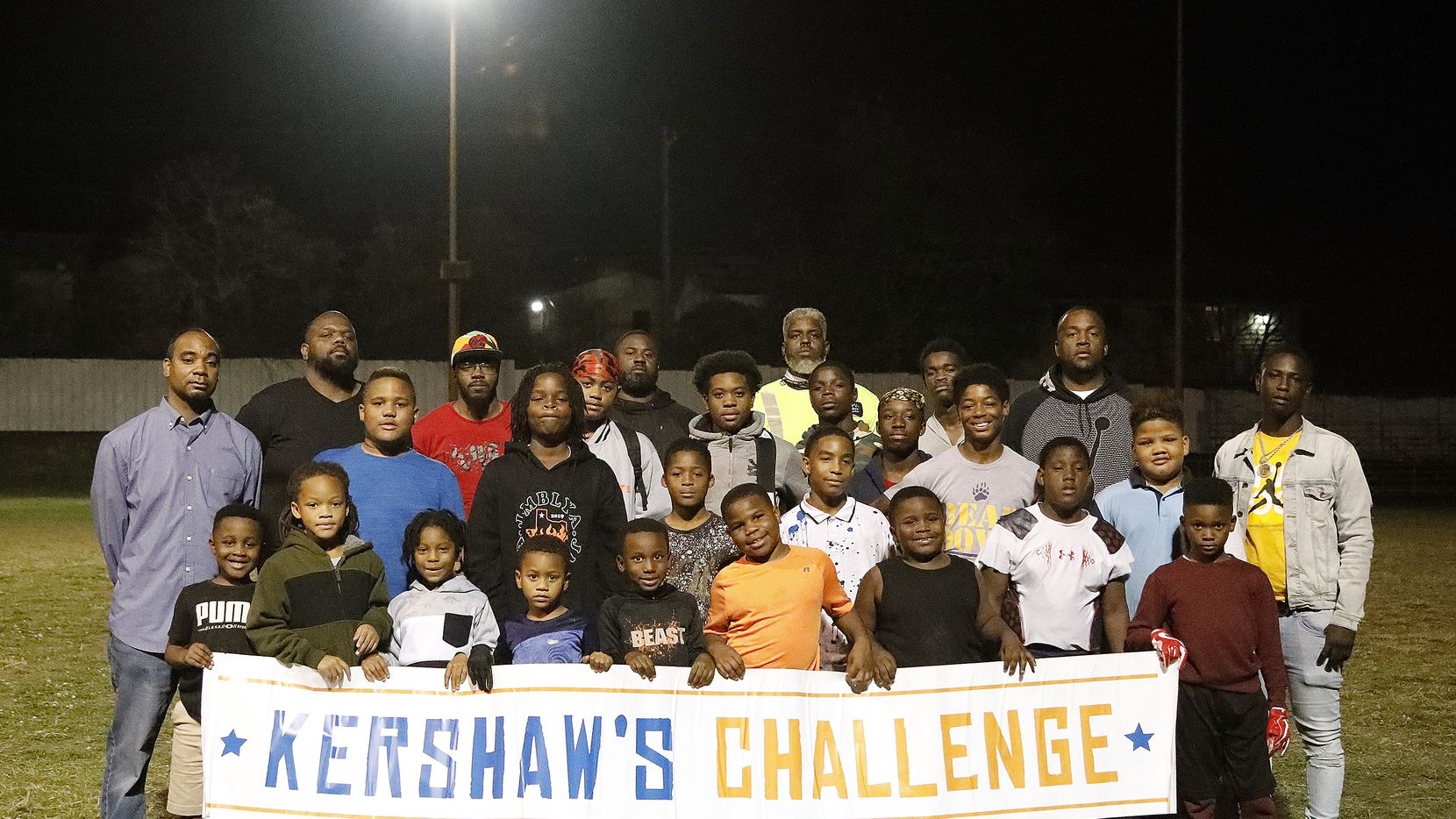 Youths and coaches at the Cedar Crest Community Center in Dallas on Tuesday, November 24, 2020. Kershaw is one of several donors contributing to the restoration of the shuttered facility.