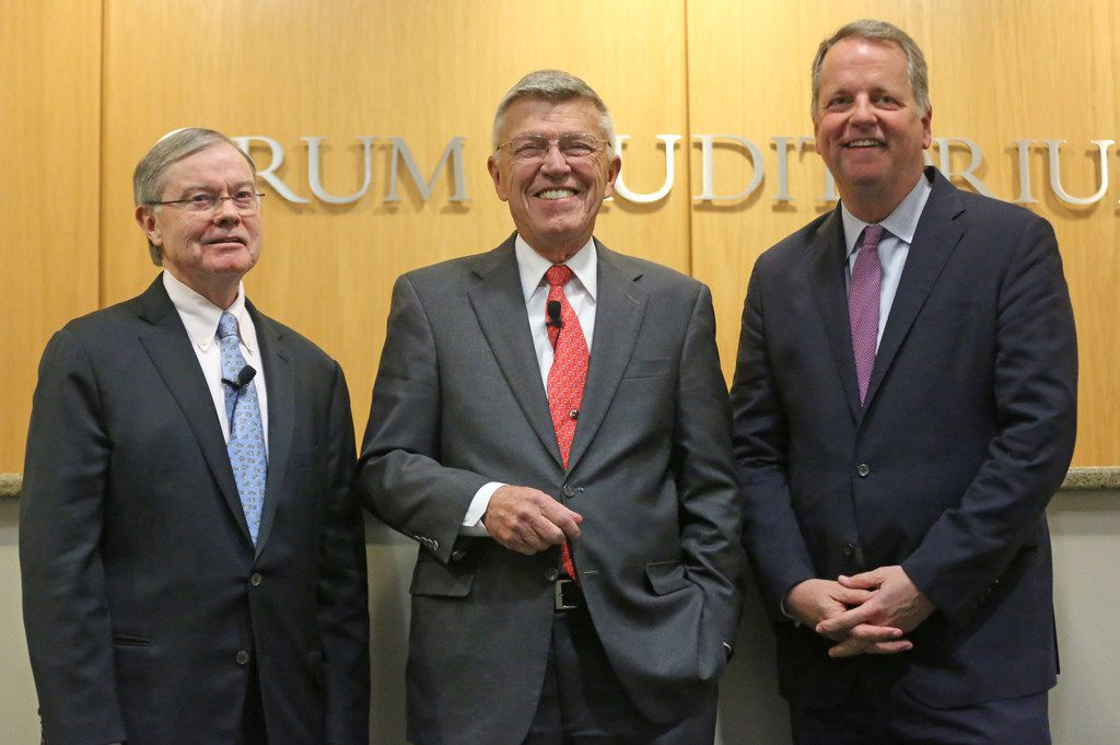 Hal Brierley, CEO of Brierley Group, Bob Crandall, former CEO of American Airlines and Doug Parker, CEO of American Airlines are pictured at the SMU Cox School of Business Crum Auditorium, photographed on Wednesday, October 25, 2017. (Louis DeLuca/The Dallas Morning News)