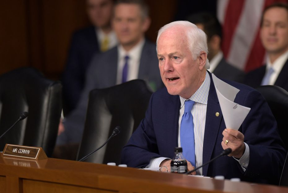 Senate Judiciary Committee member Sen. John Cornyn, R-Texas, questioned Supreme Court justice nominee Neil Gorsuch on Capitol Hill in Washington on Tuesday during Gorsuch's confirmation hearing before the committee. (Susan Walsh/The Associated Press)
