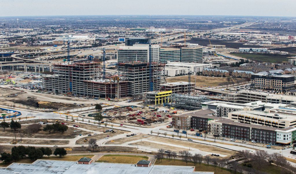 Construction near the intersection of the Dallas North Tollway and Sam Rayburn Tollway, as viewed from a helicopter on Jan. 4, 2017 in Frisco.
