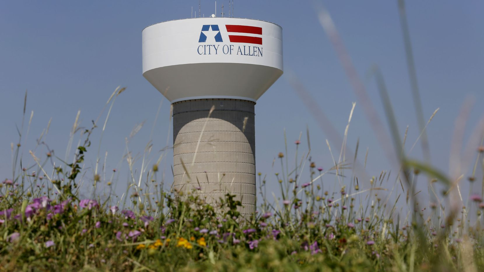 A City of Allen water tower near Prestige Circle and Bethany Drive in Allen, Texas Thursday August 14, 2014.