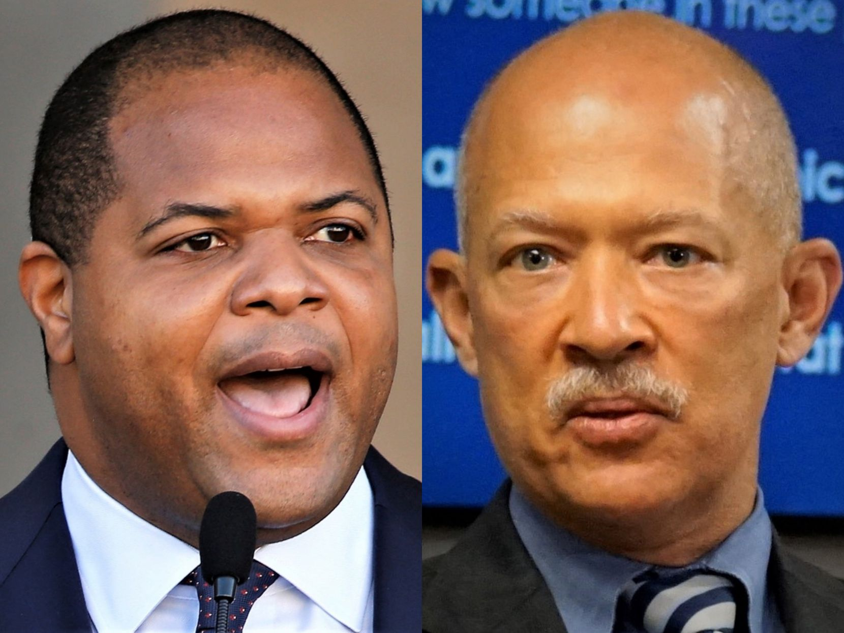 """Dallas Mayor Eric Johnson (left) said he learned of the missing files on Wednesday, calling the news """"stunning."""" Dallas County District Attorney John Creuzot said his office was only told about the deletions last week."""
