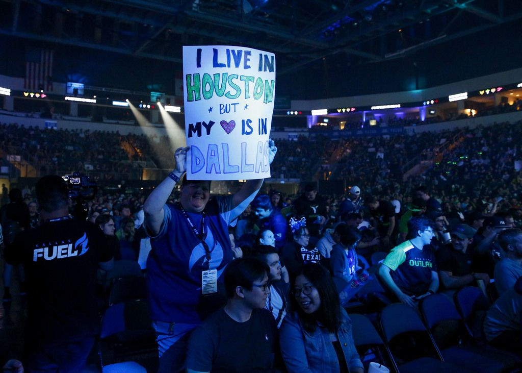 Fans celebrate during the Overwatch League match between the Dallas Fuel and the Houston Outlaws in Allen, Texas on Sunday, April 28, 2019. The first professional esports league to have city-based teams, the Overwatch League, held the first home games in league history for The Dallas Fuel the weekend of Saturday April 27 and Sunday April 28, 2019 in Allen, Texas. (Brian Elledge/The Dallas Morning News)