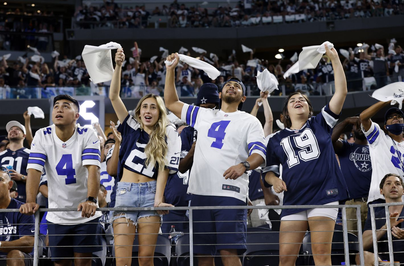 Dallas Cowboys fans are fired up after Dalton Schultz fourth quarter touchdown against the Philadelphia Eagles at AT&T Stadium in Arlington, Monday, September 27, 2021. (Tom Fox/The Dallas Morning News)