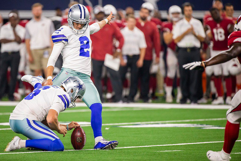 Dallas Cowboys kicker Brett Maher (2) scores his team's only points of the game with a 45-yard field goal from the hold of punter Chris Jones (6) late the second half of a preseason football game against the Arizona Cardinals at AT&T Stadium on Sunday, Aug. 26, 2018, in Arlington, Texas. (Smiley N. Pool/The Dallas Morning News)