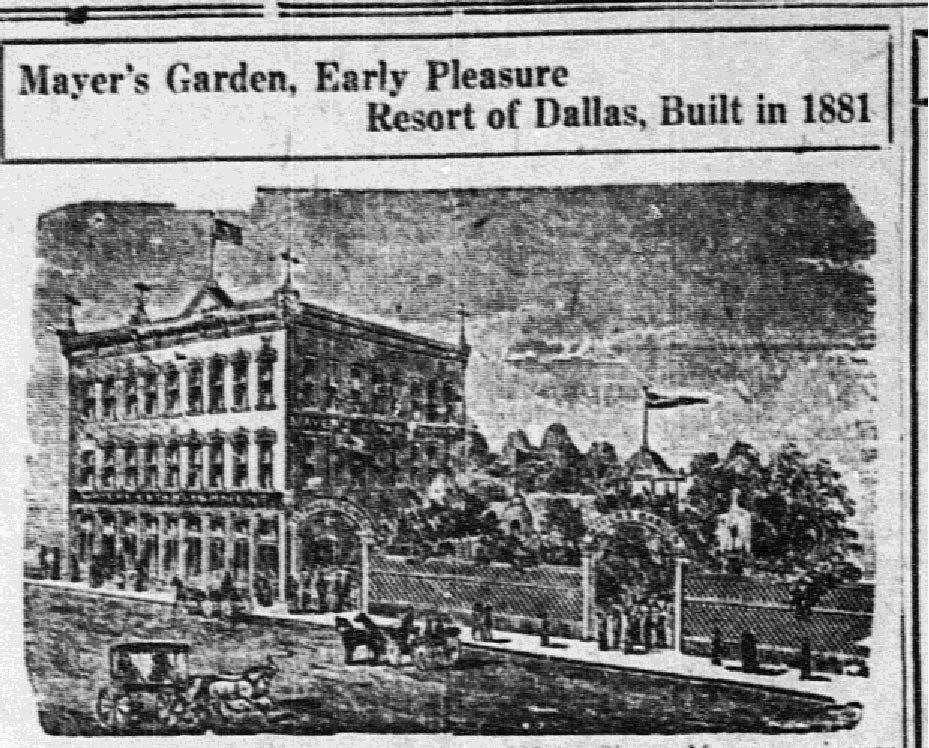 A picture from 'The Dallas Morning News' in 1924 shows the famous Mayer's Garden, calling it a 'pleasure resort.'