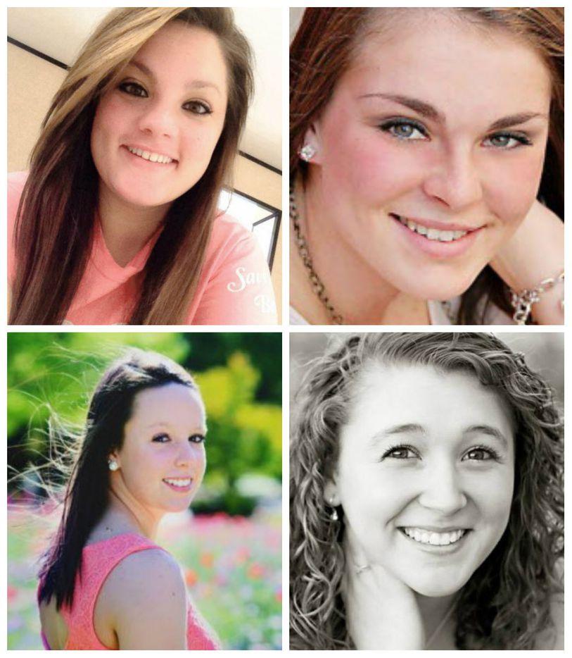 Brooke Deckard, top left, Jaiden Pelton, Meagan Richardson, bottom left, and Katelynn Woodlee,