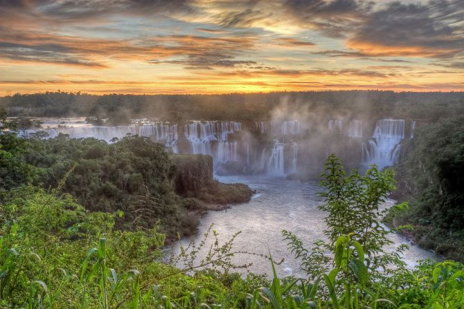 Iguazu Falls, which straddles the border of Brazil and Argentina, was named one of the New Seven Wonders of Nature in 2011.