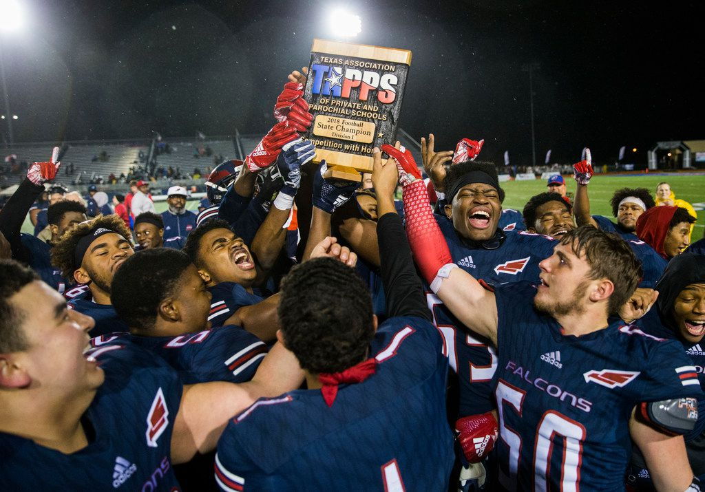 Bishop Dunne celebrates after winning the TAPPS Division I state football championship game between Bishop Lynch and Bishop Dunne on Friday, December 7, 2018 at Midway ISD's Panther Stadium in Waco, Texas. Bishop Dunne won 13-9. (Ashley Landis/The Dallas Morning News)