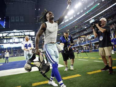 Dallas Cowboys wide receiver CeeDee Lamb (88) celebrates their win over the New York Giants as he heads to the locker room following the game at AT&T Stadium in Arlington, Texas, Sunday, October 10, 2021.