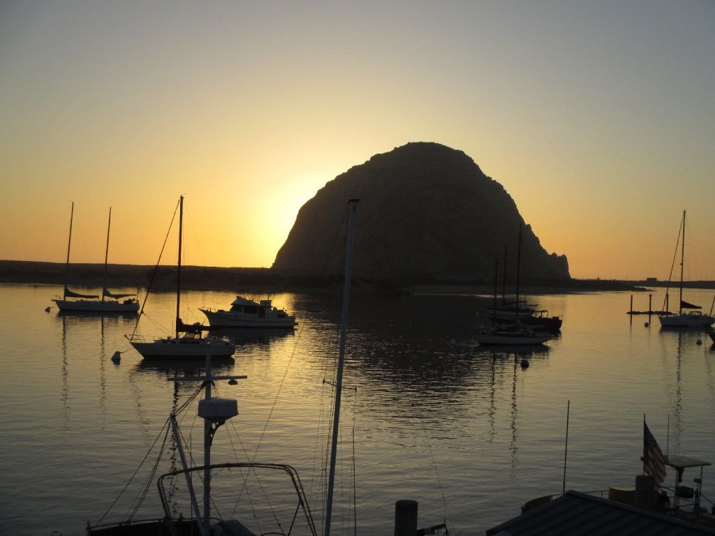 Morro Rock, just offshore in Morro Bay, Calif., is one of a chain of distinctive, ancient volcanic mountains in San Luis Obispo County.