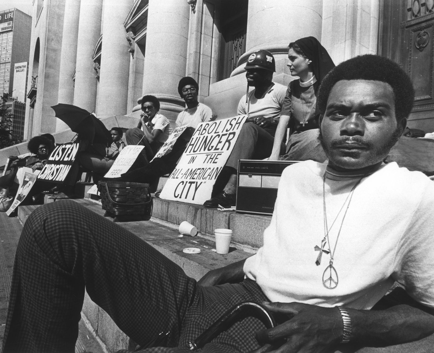 """In 1971, Peter Johnson staged a hunger strike on the steps of Dallas City Hall as part of """"Operation Breadbasket."""" And there were federal peacekeepers around to make sure no one bothered him."""