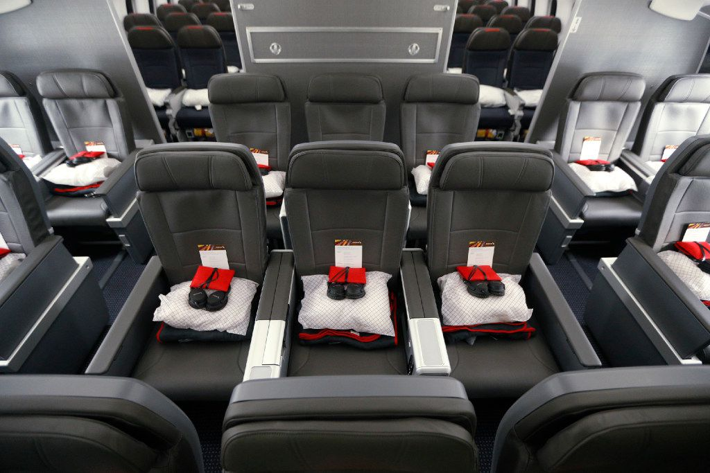 The interior of the new premium economy cabin seating in the American Airlines new 787-9 Dreamliner at DFW Airport on Nov. 3, 2016.  (Nathan Hunsinger/The Dallas Morning News)