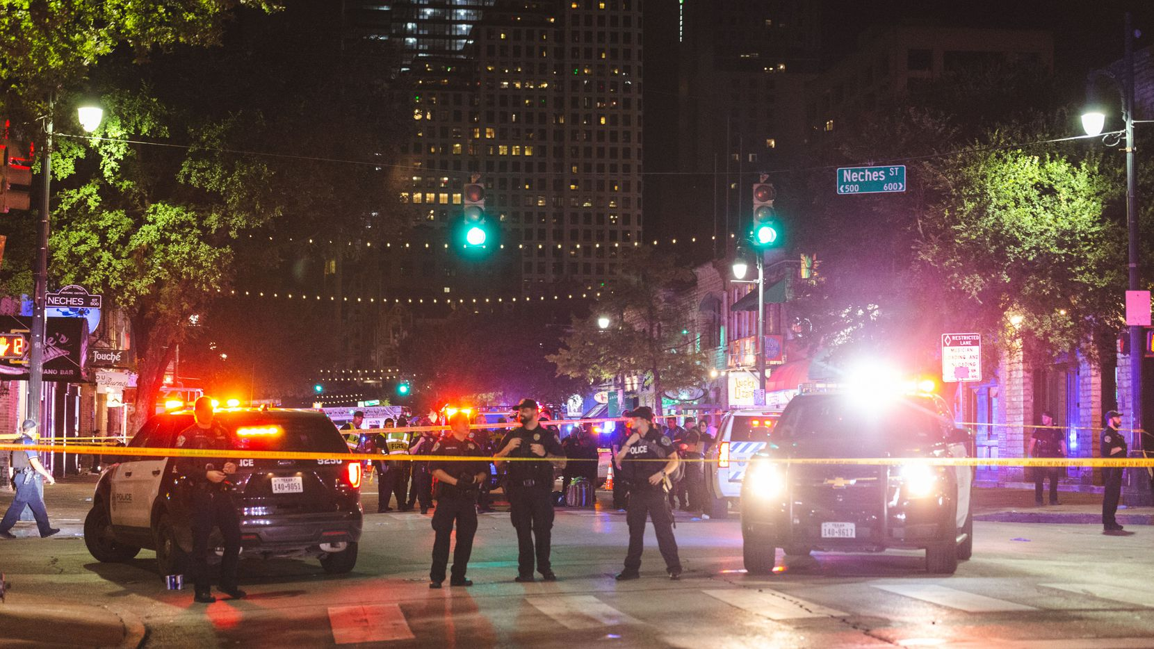 Saturday's shooting took place about 1:30 a.m. in the 400 block of East Sixth Street, a popular Austin entertainment district lined with bars and restaurants.