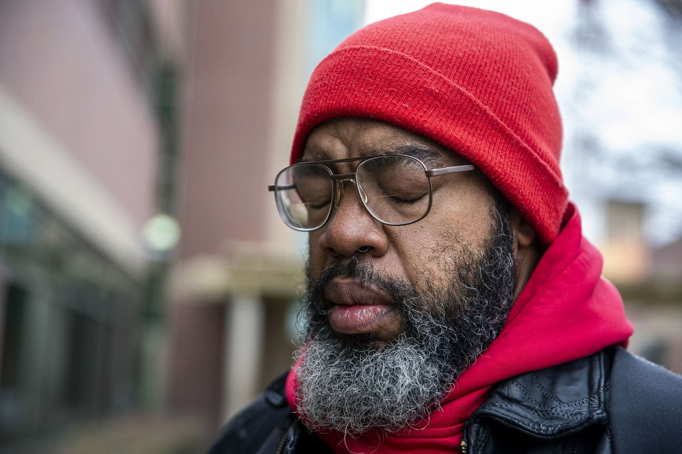Randy took a moment to regain his composure while heading back to his room at The Bridge Homeless Recovery Center on Jan. 11, 2020. His serious health problems in mid-2019 triggered a series of events that pushed him into poverty, without a social safety net to catch him.