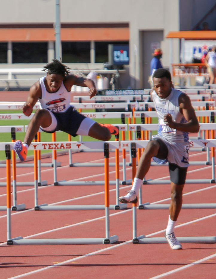 Life Waxahachie's Te'drick Robinson competes in the 4A boys 110 hurdles during the UIL state track meet at the Mike A. Myers Stadium, at the University of Texas on May 6, 2021 in Austin, Texas.