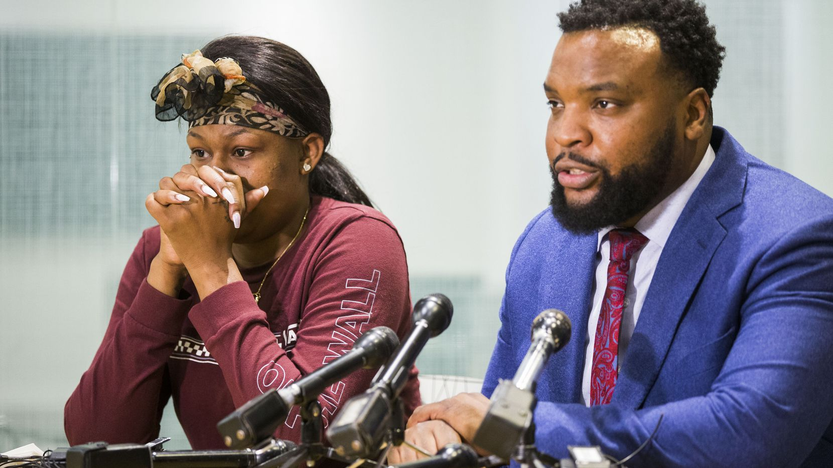 L'Daijohnique Lee and her lawyer, civil rights attorney Lee Merritt, spoke at a news conference in Dallas last week.
