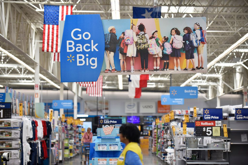 Signage for back to school supplies are on display inside a Walmart Supercenter off of Lyndon B. Johnson Freeway in north Dallas, Tuesday morning July 16, 2019. Ben Torres/Special Contributor