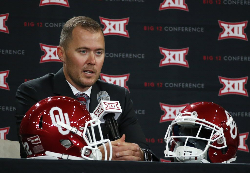 Oklahoma head football coach Lincoln Riley speaks during a press conference at the Big 12 Football Media Days in the Ford Center at The Star in Frisco, Texas on Monday, July 17, 2017.