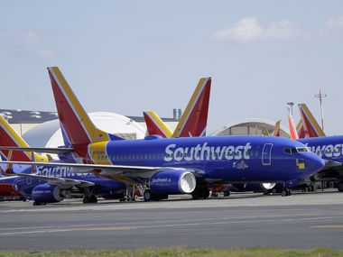 In this April 7 file photo, Southwest Airlines airplanes sit parked at Paine Field airport in Everett, Wash.