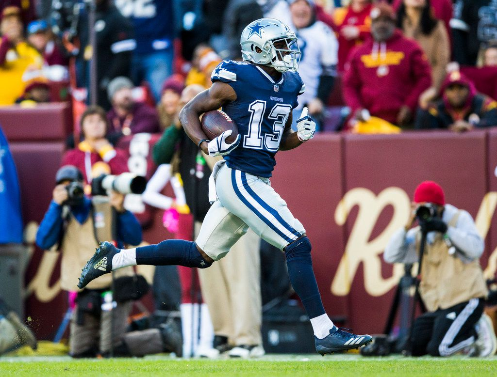 Dallas Cowboys wide receiver Michael Gallup (13) runs to the end zone for a touchdown during the second quarter of an NFL game between the Washington Redskins and the Dallas Cowboys on Sunday, October 21, 2018 in Landover, Maryland. (Ashley Landis/The Dallas Morning News)