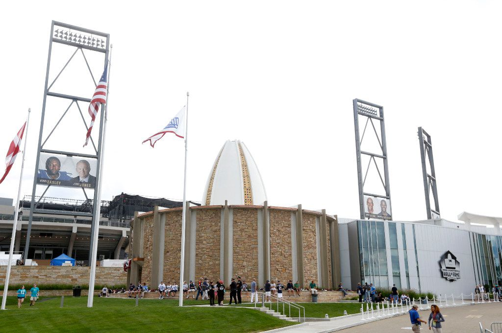 Pro Football Hall of Fame next to the renovated Tom Benson Stadium on the day of the 2017 Pro Football Hall of Fame Enshrinement Ceremony in Canton, Ohio on Saturday, August 6, 2017.