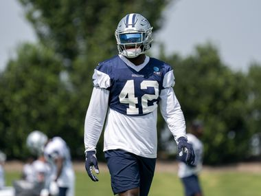 Dallas Cowboys linebacker Keanu Neal (42) particpates in drills during a preseason practice, Thursday, September 2, 2021 at The Star in Frisco in Dallas, Texas.