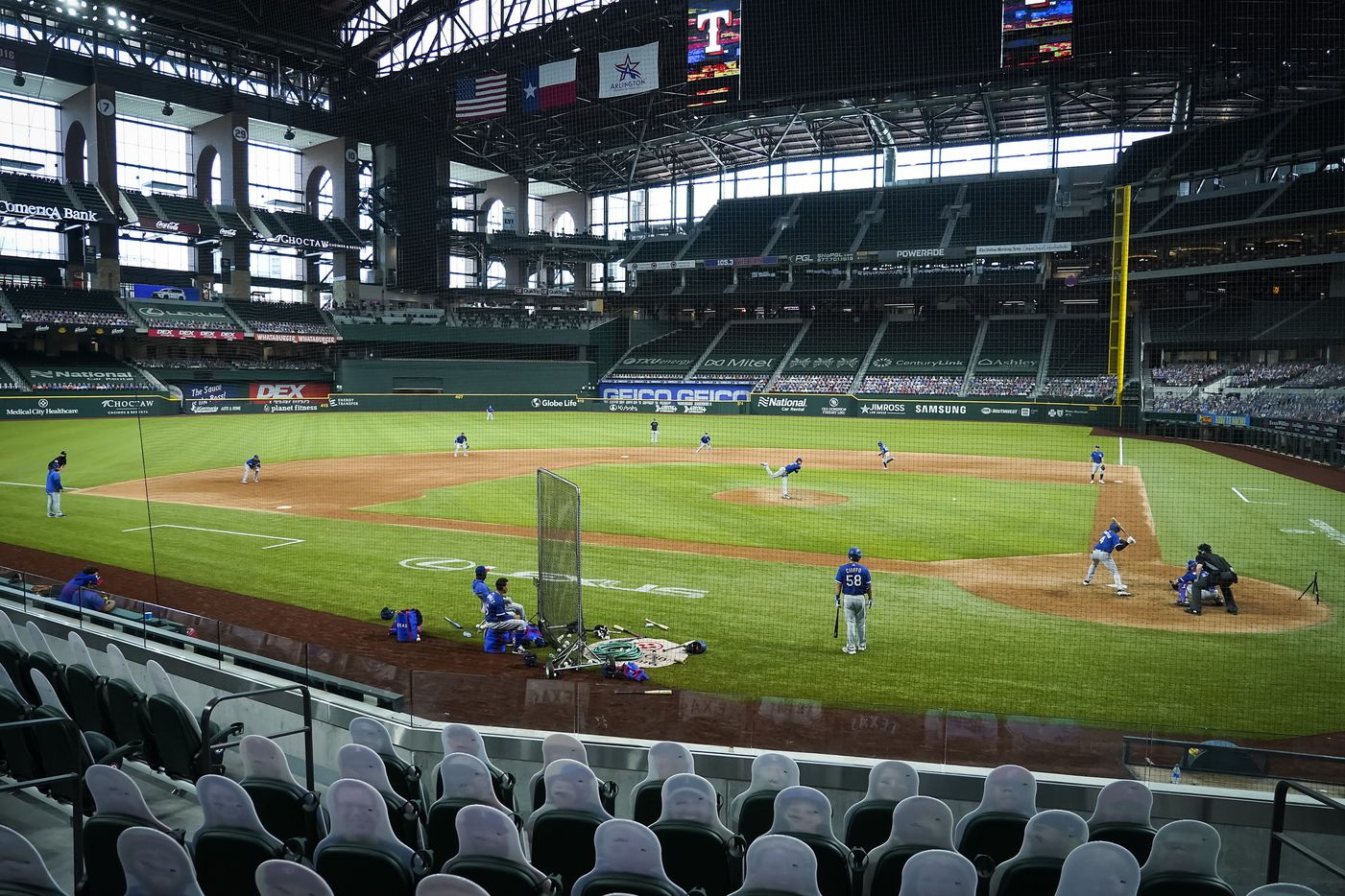 Texas Rangers outfielder Bubba Thompson bats against pitcher Tyler Phillips during a game between players at the team's alternate training site at Globe Life Field on Saturday, Sept. 19, 2020. The defensive alignment at the time included just one outfielder.