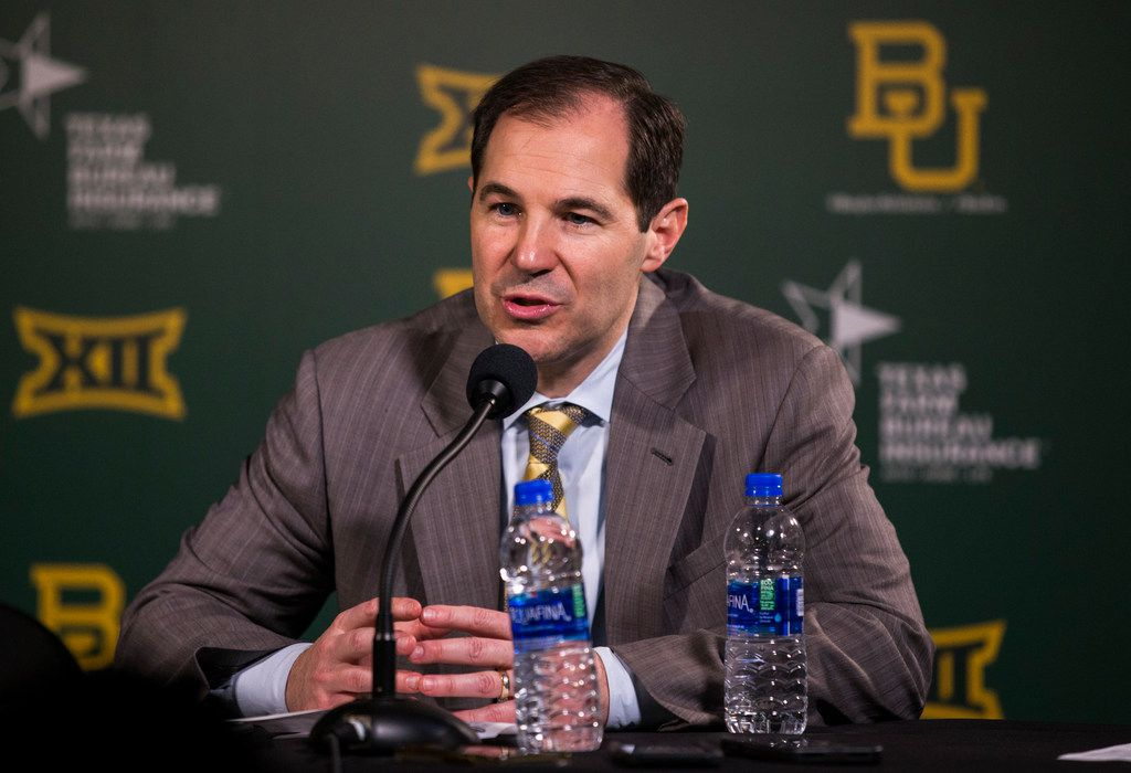 FILE - Baylor head coach Scott Drew speaks to reporters after a 64-61 loss to Kansas on Saturday, Feb. 22, 2020, at Ferrell Center on the Baylor campus in Waco.
