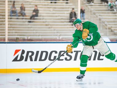 Dallas Stars right wing Corey Perry (10) shoots the puck during a practice leading up to the Winter Classic match against the Nashville Predators at the Cotton Bowl in Fair Park, Tuesday, December 31, 2019. (Brandon Wade/Special Contributor)