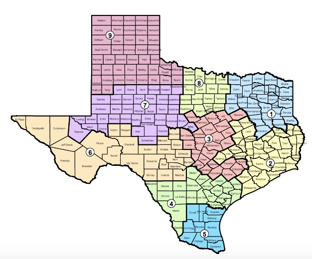 Map of the Administrative Judicial Regions for the state of Texas. (Photo from txourts.gov)