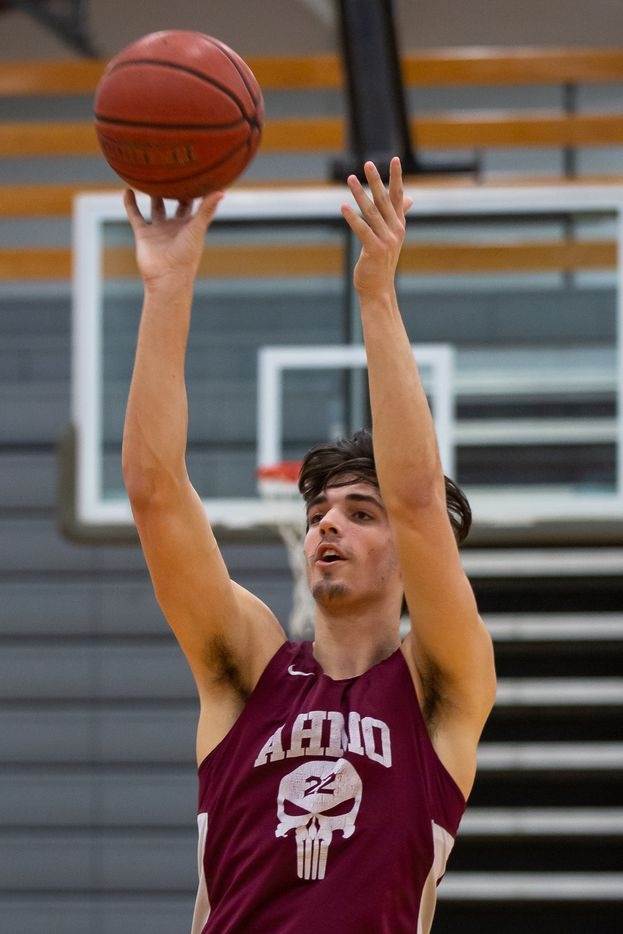 Wylie High School center Tommy Garriga (22) puts up a shot during practice at Wylie High School on March 11, 2020 in Wylie, Texas. (Kara Dry/Special Contributor)